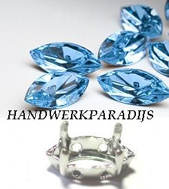 Swarovski 4200/02 Aquamarine 15x7mm +Holder 1 Pc.
