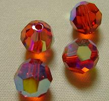 Swarovski 5000 Indian Red AB 4mm 5 Pc.