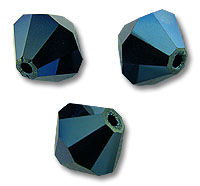 Swarovski 5328 Crystal Metallic Blue 2x 6mm 5 Pc.