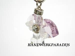 Angel Phone Charm with Swarovski Light Amethyst beads