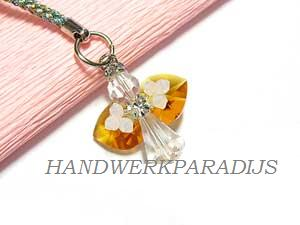 Angel Phone Charm with Swarovski Topaz beads