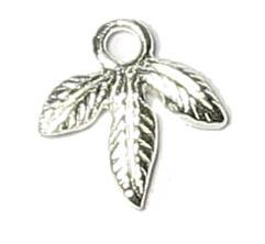 Leaf Charm 8.5 x 8.5mm Sterling Silver 925 1 Pc.