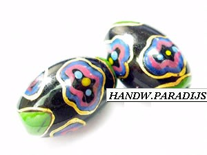 Hand Painted Glass Bead 9.5 x 14.5mm