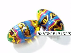Hand Painted Glass Beads 9.5 x 14.5mm