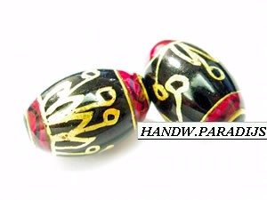 Hand Painted Glas Beads 9.5 x 14.5mm