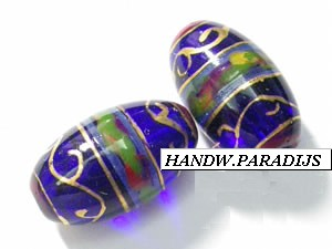 Hand Painted Glass Bead 9.5 x 14.5 mm