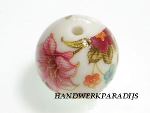Japanese Acrylic bead 12mm White with Flowers